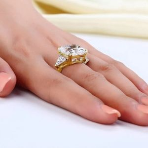 Solid 925 Sterling Silver Three-Stone Luxury Ring